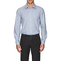 Luciano Barbera Checked Cotton Poplin Shirt Lt. Blue