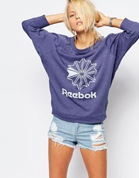 Reebok Batwing Slouchy Sweatshirt With Retro Logo Blue