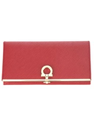 Salvatore Ferragamo Gancio Flip Lock Wallet Red