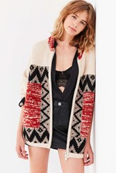 Ecote Harper Patterned Zip Up Sweater Jacket Red Multi