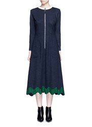 Toga Archives Embroidered Wavy Trim Zip Wool Dress Blue