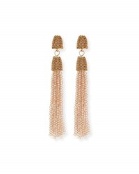 Lydell Nyc Chain And Bead Tassel Drop Earrings Gold