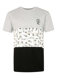 Topman Black Cut And Sew Mickey Mouse Print T Shirt