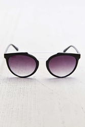 Urban Outfitters White Brow Bar Round Sunglasses Black