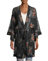 Willow And Clay Floral Lace Kimono Cardigan Black