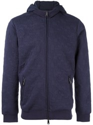 Armani Jeans Zipped All Over Logo Hoodie Blue