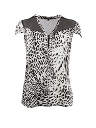 Morgan Leopard Print Zip Detail Top Black