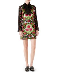 Gucci Floral Brocade Dress With Lace Details Black Acid Green