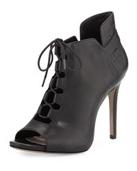 Pour La Victoire Vionne Lace Up Peep Toe Ankle Boot Black