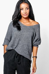 Boohoo Slouchy V Neck Jumper Grey