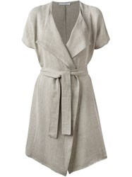 Dusan Belted Short Sleeve Coat Nude And Neutrals