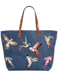 Red Valentino Denim Tote Bag W Bird Patches