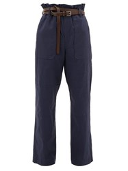 Sea Scott Belted Paperbag Stretch Cotton Trousers Navy
