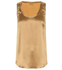 Brunello Cucinelli Sleeveless Silk Satin Top Gold