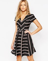 Oasis Stripe Skater Dress Black