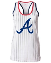 5Th And Ocean Women's Atlanta Braves Pinstripe Glitter Tank Top White