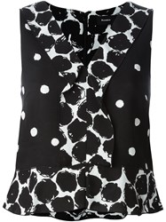 Proenza Schouler Sleeveless Polka Dot Blouse Black