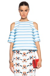Tanya Taylor Iris Top In Blue White Stripes