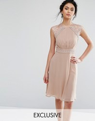 Elise Ryan Midi Dress With Crochet Lace Trim Mink Brown