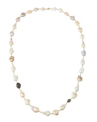 Bavna Long Pink And White Baroque Pearl And Diamond Bead Necklace Women's