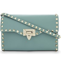 Valentino Rockstud Leather Cross Body Bag Aqua