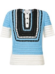 Novis Crochet Knit Blouse Women Silk M Blue