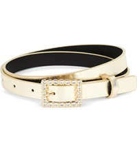 Max Mara Elegante Jewel Encrusted Metallic Leather Belt Gold