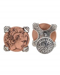 Konstantino Men's Sterling Silver And Copper Alexander The Great Cuff Links W Spinel Insets