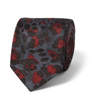 Dries Van Noten Leopard Silk Jacquard Tie Burgundy