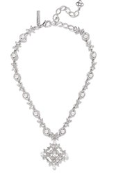 Oscar De La Renta Silver Tone Crystal And Faux Pearl Necklace