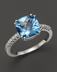 Bloomingdale's 14K White Gold Diamond And Blue Topaz Cushion Ring
