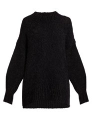 Isabel Marant Idol Oversized Knitted Mohair Sweater Black