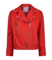 Pinko Technical Fleece Biker Jacket Female Red