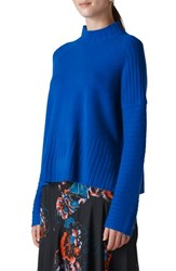 Whistles Directional Ribbed Wool Sweater Blue