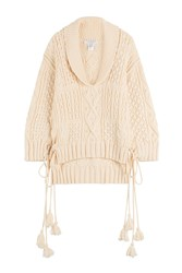 Philosophy Di Lorenzo Serafini Oversized Knit Pullover With Tassels White