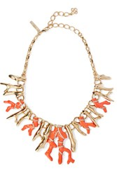 Oscar De La Renta Gold Tone Crystal And Resin Necklace