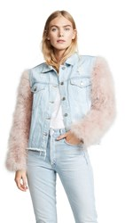 Jocelyn Cropped Denim Jacket With Detachable Feather Sleeves Blue With Rose Feathers