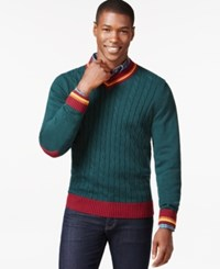 Argyle Culture Varsity Cable Knit V Neck Sweater Hunter