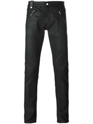 Alexander Mcqueen Leather Panelled Skinny Jeans Black