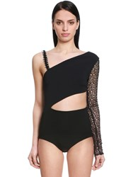 David Koma Macrame And Stretch Cady Bodysuit