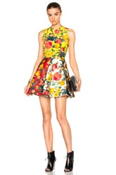 Fausto Puglisi Mini Flare Dress In Yellow Red Floral Yellow Red Floral