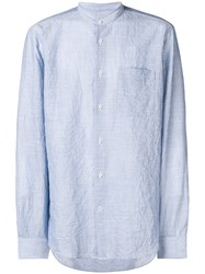 Mauro Grifoni Striped Mandarin Collar Shirt Blue