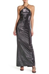 Abs By Allen Schwartz Bias Cut Metallic Halter Gown