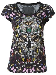 Philipp Plein Butterfly Skull T Shirt Black