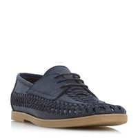 Linea Basildon Bowl Woven Lace Up Gibson Shoes Navy