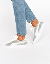 Puma Classic Suede Basket Trainers In White And Gold Metallic Peacoat White