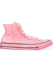 Converse Painted Effect High Top Sneakers Pink And Purple