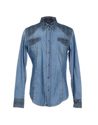Roberto Cavalli Denim Denim Shirts Men Blue