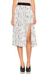 Prabal Gurung Wavy Rib Jersey Pleated Skirt In Black Stripes White Black Stripes White