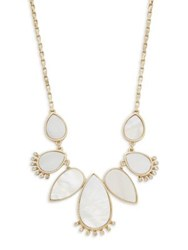 Design Lab Lord And Taylor Mother Of Pearl Crystal Statement Necklace Gold